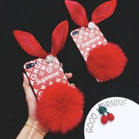 Wholesale Iphone Cases Bows - Luxury Rhinestone bow hairball red silicone case for iPhoneX 8 8plus 7 6 6S 7plus
