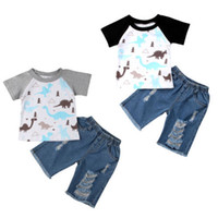 Wholesale hot baby suit for sale - Group buy Hot INS Dinosaur Baby Boy clothes Short sleeve T shirt Tops Denim shorts Outfit Clothing Set Suit M T