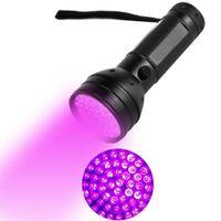 siyah ışık ultraviyole toptan satış-51LED UV Işık LED UV El Feneri UV Ultraviyole LED El Feneri Menekşe Siyah Işık Torch 395 nM Taşınabilir El Feneri LED Torch Işık Açık