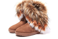 Wholesale red fox plush for sale - Fashion Fox Fur Warm Autumn Winter Wedges Snow Women Boots Shoes GenuineI Mitation Lady Short Boots Casual Long Snow Shoes size