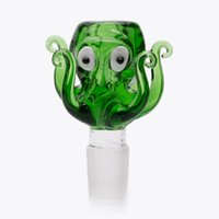 Wholesale male 18mm bong bowl resale online - 14mm and mm Joint Glass Bowl Cute Octopus Design Smoking Bowl piece Head Colored Male Glass Bowl herb For Glass Bongs