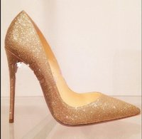 Wholesale red tip toe shoes - 2017 New Women Gold Sequins Dress Shoes,Luxury Brand Red Bottom Glitter Wedding Party ,Sexy Stiletto Heel Pointed Tip Pumps,Red Sole Shoes