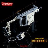 ornamento da arma venda por atacado-PLAYERUNKNOWNS BATALHA Chaveiro PUBG vector 145 MM modelo de Metal arma Anel Chave Pote enfeites de Brinquedo ornamentos Modelo prop