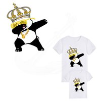 Wholesale iron patches crowns - 2018 Hot Dabbing Crown Panda iron on patches 24*20cm Diy T-shirt Dresses thermal transfer Patch for clothing