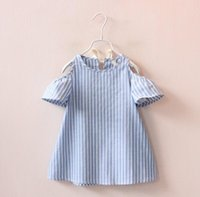Wholesale Wholesale Baby Puffs - 2-7Year 2018 Fashion Summer Baby Clothes for Girls Princess Dresses Kids Short Sleeve Stiped Dress Girls Clothing