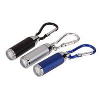 led intermitente linterna azul rojo al por mayor-Mini bolsillo antorcha útil retractada Camping Senderismo linterna LED lámpara de luz Multifuncional bolsillo hebilla de luz