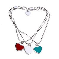 Wholesale popular gold chain styles online - Popular Style Luxury Brand Titanium Steel Bracelet Fashion Female Casual Ball Chain Bracelet with Heart Charm Jewelry