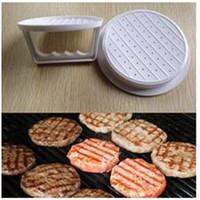 hamburger burger basın toptan satış-Hamburger köftesi Maker Beyaz Plastik Doldurulmuş Burger Basın DIY Sığır Kalıp Et Basın Patty Kalıp Mutfak Barbekü Aracı