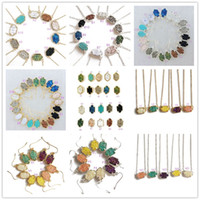 Wholesale drusy jewelry - 16Styles Fashion Druzy Drusy Necklace Earrings Kendra Silver Gold Plated Faux Natural stone Scott Necklaces Earrings MKI Women Brand Jewelry