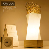 Wholesale tabletop night lights - Artpad Nordic Simple Flower Tabletop Light Solid Wood E27 Base Glass Lampshade Dining Room Table Night Lamp Bedside Lighting