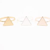 золотые треугольные шпильки оптовых-Оптовая кольца для девочек 10 pce / лот смешать цвет мода треугольник пластины Серьги Золото-цвет / посеребренные / розовое золото-цвет серьги ж