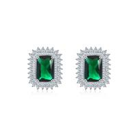 smaragdgrünstock großhandel-Synthese grüner Stein 15 * 20mm 925 Sterling Silber Schmuck grüne Stein Ohrstecker mit Smaragd Stein sieht herrlich