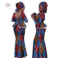 3f130fb4607 2018 Africa Style Two Piece Skirt Set Dashiki Elegant Clothing Ruffles Sexy  Crop Top and Skirt Women Sets for Wedding WY1057