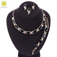 anillos de boda de jade negro al por mayor-Black Stones Blanco CZ Color Oro Conjuntos de Joyas de Boda Para Las Mujeres Pendientes Collar Colgante Anillo Pulsera