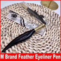 Wholesale making pen design for sale - Group buy M Brand Makeup Feather Design Beautiful Liquid Waterproof Long Lasting Smooth Black Brown Make Up Eye Liner Pen Eyeliner Cosmetics