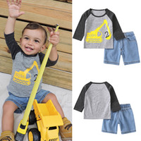 Wholesale excavator 12 - Baby boys Jeans Sets Long Shirt Zayden Letter Excavator Printed Elastic Short Jeans Toddler Kids Clothing Sets Two Pieces Summer Autumn 1-5T