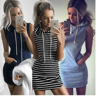 Wholesale colors cocktails dress resale online - Women Sexy Striped Bodycon Dress Evening Party Cocktail Casual Sleeveless Mini Stripe Hooded Slim Dresses Home Clothing colors AAA1091
