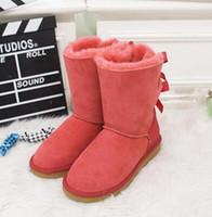 ingrosso le scarpe da neve delle signore sono alte-New Fashion Australia stivali alti classici invernali in vera pelle di cuoio Bailey bow ladies Bailey Bowknot stivali da neve da donna scarpe