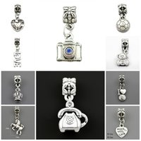 Wholesale Charms Beads Silver Plated Acrylic Fit Charms Jewelry Bracelets Necklaces For Jewelry Making Beads
