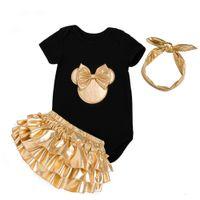 chaussures à volants bébé achat en gros de-2018 Baby Girl Vêtements 3pcs Ensembles de vêtements Black Cotton Rompers Golden Ruffle Bloomers Shorts Chaussures Bandeau Vêtements nouveau-né