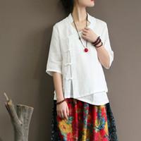 top estilo chino tradicional al por mayor-Las mujeres del estilo chino de la vendimia Blusas tradicionales de manga media Tops Famle Kung Fu blanco camisa uniforme Mujeres Tops algodón túnica de lino