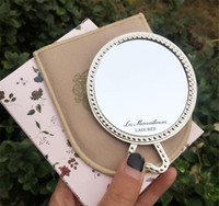Wholesale cosmetic retail package for sale - Group buy 20pcsLADUREE Les Merveilleuses miroir de poche hand mirror vintage metal holder pocket cosmetics Makeup mirror with carry bag retail package