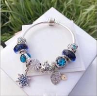 cuentas de vidrio de murano diy al por mayor-Moda Pandora Style Charm Bracelets 925 Plata de ley Cristal de Murano Granos europeos del encanto Se adapta a las pulseras Azul Copo de nieve Cuelga DIY Joyería