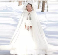 Wholesale women winter party coats online - 2018 new Warm cheap Bridal Cape Winter Fur Women Jacket Bridal Christmas Floor Length Cloaks custom made Long Party Wedding Coat