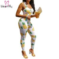 b52a8ee211d Pineapple Printed Two Piece Sexy Jumpsuit Summer Bodycon Overalls Backless  Boho Beach Elegant Rompers Womens Long Playsuit