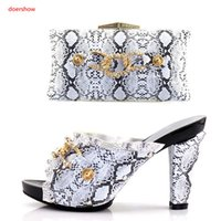 Wholesale matching shoes bags orange - wedding Shoe and Bag Set Women Shoes and Bag Set In Italy Design Italian Shoes with Matching Bag Set Decorated with Stone KU1-21