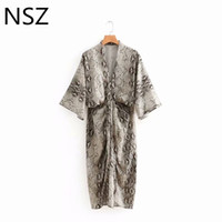 Wholesale sexy woman snake for sale - Women Snake Dress Animal Print Half Sleeve High Waist Sexy V Neck Knee Length Split Street Style Elegant Party Dresses
