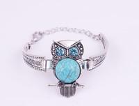 bracelet hibou de style vintage achat en gros de-Mignon Vintage Animal Owl Bijoux Antique Argent Plaqué Turquoise Hibou Bracelet Cristal Bohème Bijoux 8 style
