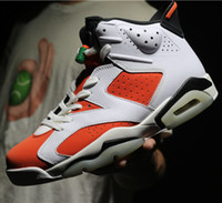 Wholesale Womens Satin Tops - New arrival Air Retro 6 shoe Gatorade Man Basketball Shoes Red Orange top quality Retro 6s Womens sport Trainer Sneakers US 5-13
