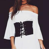 a252e3a7983 2017 Vintage Black Faux Suede Lace Up Denim Wide Corset Bandage Womens  Waist Belt New Shape-Making Midriff-Cinchers Black