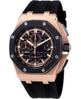 royal offshore UK - Luxury 44 MM Royal Oak Offshore Black Mega Tapisserie Dial Men's Chronograph Watch Quartz timing Movement Mens Watches Wristwatches