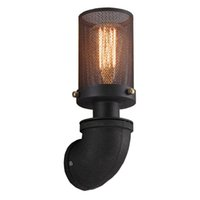 Wholesale traditional wall lamps resale online - American Loft Stairs Rust Pipe Wall Sconce Vintage Bar Dining Room Wall Lamps Balcony Corridor Wall Lights