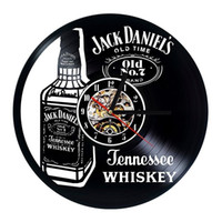 Wholesale wall color art for sale - Jack Daniels Whiskey Vinyl Wall Clock Modern Home Decor Fashion Room Decoration Wall Art Clock Size inches Color black