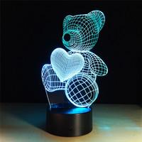 urso de toque da lâmpada venda por atacado-Controle acrílico do interruptor do toque do painel da luz por atacado Padrão bonito do urso 3D da ilusão Lâmpada do diodo emissor de luz 3D