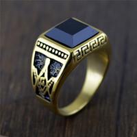18k gold schwarzer onyx ring großhandel-Klassischer neuer Mode-Titanstahl schwarzer Onyx-Ring 18K Gold überzogene Mens geben Maurer-Freimaurermeister-Ring für Männer frei