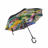 Wholesale big paintings for drawing for sale - Group buy 2017 Creative Oil Painting Big C Handle Men Inverted Umbrella Monet Drawing Reverse Windproof Umbrella for Car