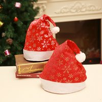 Wholesale military woman costume for sale - Hot Sale and Brand New Fashion Cute Red Velvet Printed Silver Snowflake Christmas Hat Costume Props