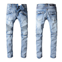 Wholesale green holes - Balmain New Fashion Men's Simple Summer Lightweight Jeans Men's Large Size Fashion Casual Solid Classic Straight Denim Designer Jeans