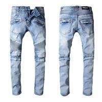 джинсы оптовых-Balmain новая мода мужская простой летние легкие джинсы мужская большой размер мода повседневная твердые классические прямые джинсовые дизайнер джинсы
