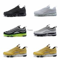 Wholesale men s soccer shoes - 2018 Newest Vapormax 97 97s Running Shoes For Mens Silver Gold Bullet Triple s white balck Japan Sports Trainers Sneakers Size 36-45