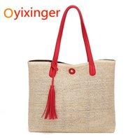 ingrosso imballaggio per cannucce-Oyixinger Woman Bags Weave Woman Package Fashion Beach Paglia intrecciata Pacchetto conciso Single Shoulder Handbag Borsa grande