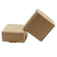 упаковочные коробки для мыла ручной работы оптовых-50Pcs Браун Бумага для крафт-бумаги Упаковка для упаковки Коробки для свадьбы DIY Favors Candy Packing Boxes для подарков на день рождения Handmade Soap