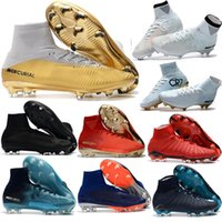 Wholesale cheap leather ankle boots women - New Mercurial Superfly CR7 V ACC FG Mens Kids Women Football Boots Sale Cheap EA Sports Superflys High Top Ankle Soccer Cleats Shoes