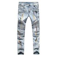 ingrosso disegni biker-Jeans da uomo Biker Jeans Casual Streetwear Design Moda Jeans per uomo Hip Hop Strech Jeans pieghettati Taglia 29-38