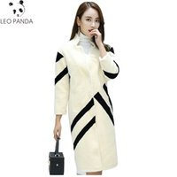 Wholesale Button Sheep - 2018 New Winter Women Long Striped Cashmere Blends Warm Fahion Jackets High Quality Wool Coats Sheep Ladies Fur Ladies Overcoat