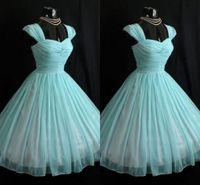 bolas azuis para venda venda por atacado-Nova Venda Quente Vestidos de Baile Querida Vestido de Baile Zíper De Cetim Chiffon Em Camadas 1950'S Curto Vestido Moderno Barato Alça de Ombro Vestidos de Noite